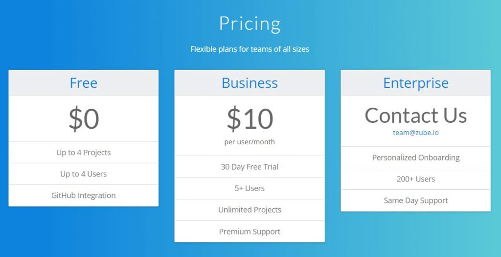Zube pricing table