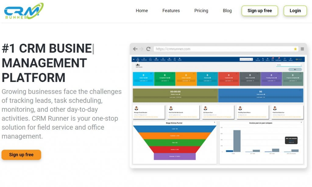 The CRM Runner homepage