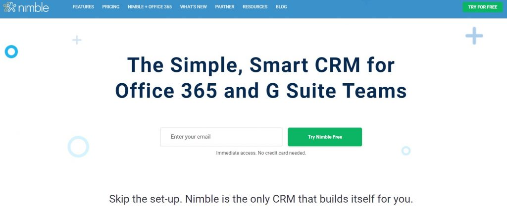 The Nimble CRM homepage