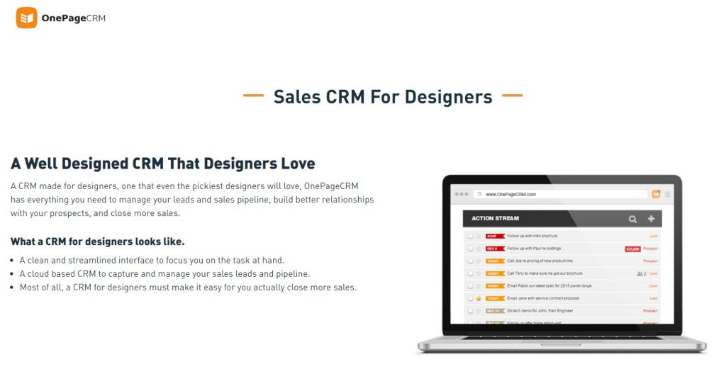 The One Page CRM for designers landing apge