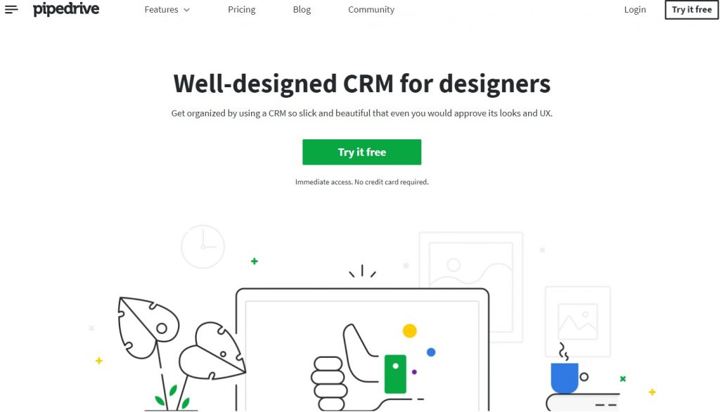 The Pipedrive for Designers landing page